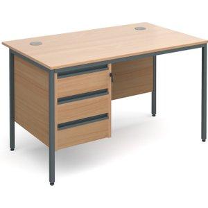 Next-day Value Line Classic H-leg Basic Clerical Desk 3 Drawer, 123wx75dx73h (cm), Beech,  H4P3B NDX, Beech