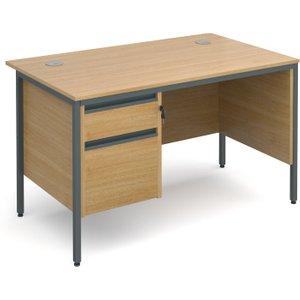 Next-day Value Line Classic H-leg Clerical Desk 2 Drawers, 123wx75dx73h (cm), Oak, Free  D H4mp2ox