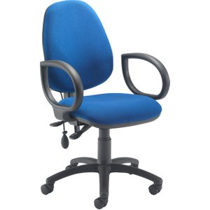 Orchid Lumbar Pump Ergonomic Operator Chair With Fixed Arms, Blue, Free Delivered & Fully Installed CH2810 + AC1002 BLUE, Blue