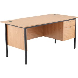 Origin H-leg Clerical Desk 2 Drawers, 153wx75dx73h (cm), Oak, Free Delivered & Fully Insta STB15RECDRW2 OK, Oak