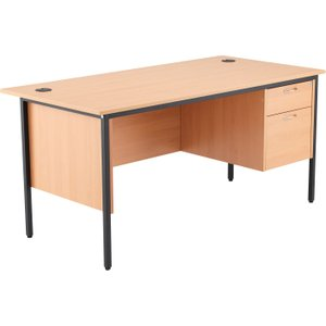 Origin H-leg Clerical Desk 2 Drawers, 153wx75dx73h (cm), Beech, Free Standard Delivery STB15RECDRW2 BE, Beech