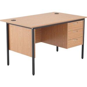 Origin H-leg Clerical Desk 3 Drawers, 123wx75dx73h (cm), Oak, Free Delivered & Fully Insta STB12RECDRW3 OK, Oak