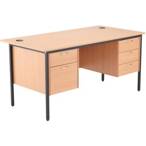 Origin H-leg Executive Desk 2+3 Drawers, 153wx75dx73h (cm), Beech, Free Standard Delivery STB15RECDRW5 BE