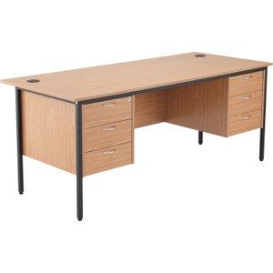 Origin H-leg Executive Desk 3+3 Drawers, 179wx75dx73h (cm), Oak, Free Next Day Delivery STB17RECDRW6 OK