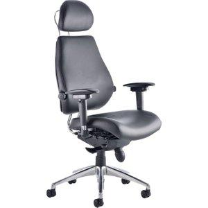 Praktikos Ultimate Black Leather Ergonomic Chair With Headrest, Black, Free Delivered & Fully Insta PO000013 ASSEMBLED, Black
