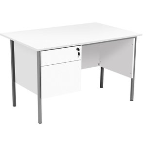Primo Clerical Desk With 2 Drawers, White, Free Next Day Delivery ZECO1200 2D WHT, White