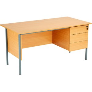 Primo Clerical Desk With 3 Drawers, Beech, Free Next Day Delivery ZECO1200 3D BCH, Beech