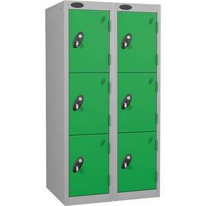Probe Low Door Locker Nest Of 2, 31wx38dx135h (cm), Silver/green Junior 53/12/15//3n2, Silver/Green