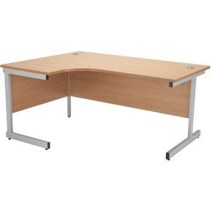 Progress I Left Hand Ergonomic Desk, 160wx80dx73h (cm), Silver/beech, Free Standard Delivery OSE1612CWSLCLBE