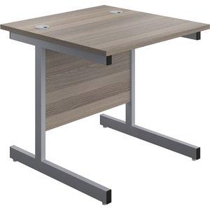 Progress I Rectangular Desk, 80wx80dx73h (cm), Silver/grey Oak Su8080recgosv, Silver/Grey Oak