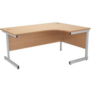 Progress I Right Hand Ergonomic Desk, 160wx80dx73h (cm), White/oak, Free Standard Delivery OSE1612CWSRCLWHOK