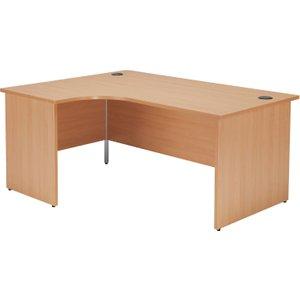 Progress Panel End Left Hand Ergonomic Desk, 160wx120/80dx73h (cm), Dark Walnut, Free Stan OPR1612CWSLPDW