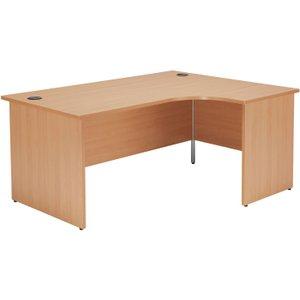 Progress Panel End Right Hand Ergonomic Desk, 160wx120/80dx73h (cm), Grey Oak, Free Delivered & Full OPR1612CWSRPGO