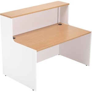 Progress Reception Desk, White/beech, Free Standard Delivery RCA1600 BE/WH