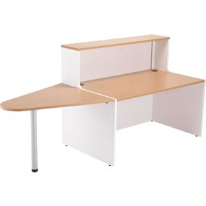 Progress Reception Desk With Extension, White/white/oak, Free Next Day Delivery RCA1600EX OK/WH/WH FRAME