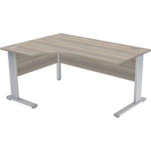 Proteus Deluxe Left Hand Ergonomic Desk, 180wx80dx73h (cm), Grey Oak, Free Delivered & Fully Instal ZFDC1812(L) GOAK, Grey Oak