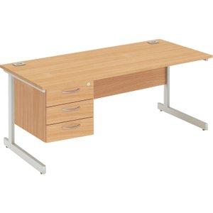 Proteus I Clerical Desk With 3 Drawers, 140wx80dx73h (cm), Silver/oak, Free Next Day Deliv ZFP1408+FPFP3D SLV/OAK, Silver/Oak
