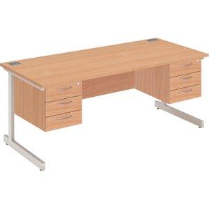 Proteus I Executive Desk 3+3 Drawers, 160wx80dx73h (cm), Silver/grey Oak, Free Delivered & Fully Ins ZFP1608+FPFP3D X 2 SLV/GOAK