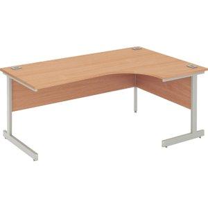 Proteus I Right Hand Ergonomic Desk, 140wx120/80dx73h (cm), White/grey Oak, Free Delivered & Fully  ZFPC1412 RIGHT WH/GOAK, White/Grey Oak