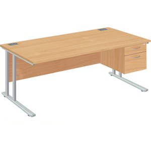 Proteus Ii Clerical Desk With 2 Drawers, 120wx80dx73h (cm), Silver/oak, Free Standard Deli ZF2/1208+FPFP2D SLV/OAK, Silver/Oak