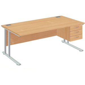 Proteus Ii Clerical Desk With 3 Drawers, 160wx80dx73h (cm), Silver/oak, Free Standard Delivery ZF2/1608+FPFP3D SLV/OAK, Silver/Oak
