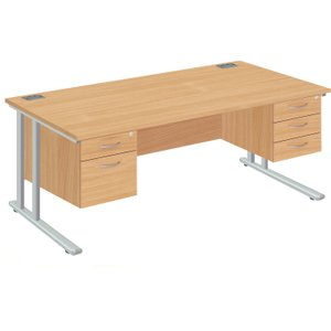 Proteus Ii Executive Desk 2+3 Drawers, 160wx80dx73h (cm), Silver/oak, Free Delivered & Ful Twu1680rec+teshp2+teshp3 Sv/no