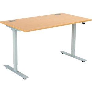 Proteus Sit & Stand Desk, 160wx80dx65-130h (cm), Beech Zfpss1608 Sil/bch, Beech