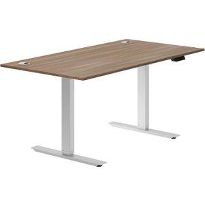Respond Sit & Stand Desk (walnut), 120wx80dx69-117h (cm), Silver/walnut, Free Delivered &  DIECOREACT12W SIL, Silver/Walnut