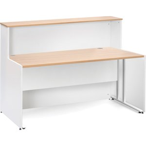 Salute C-leg Reception Desk, 146wx89dx113h (cm), Beech, Free Standard Delivery WD2514 BX