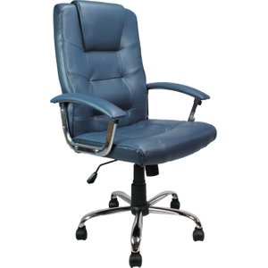 Skye High Back Blue Leather Faced Executive Chair, Blue, Free Delivered & Fully Installed Delivery DPA2008ATG/LBL ASSEMBLEDX, Blue