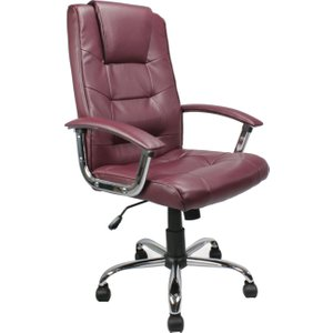 Skye High Back Burgundy Leather Faced Executive Chair, Burgundy, Free Delivered & Fully In DPA2008ATG/LBY ASSEMBLEDX, Burgundy