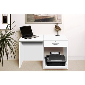 Small Office Desk Set With Single Drawer & Printer Shelf (white) Set 01 In Wh