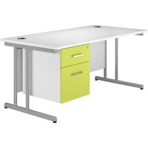 Solero C-leg Single Pedestal Desk (green), 140wx80dx73h (cm), Green, Free Standard Delivery VALPLUSCD14SPGR