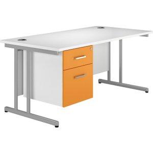 Solero C-leg Single Pedestal Desk (orange), 180wx80dx73h (cm), Orange, Free Standard Delivery VALPLUSCD18SPOR