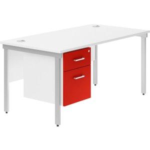 Solero H-leg Single Pedestal Desk (red), 120wx80dx73h (cm), Silver/red, Free Delivered & Fully Insta DIVALBD12SPRSIL