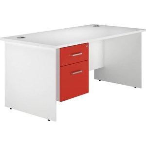 Solero Panel End Single Pedestal Desk (red), 160wx80dx73h (cm), Red, Free Delivered & Fully Installe DIVALPED16SPR