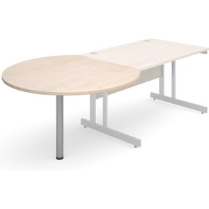 Trinity Circular Desk End Tables, Silver/maple, Free Delivered & Fully Installed Delivery ECL S M, Silver/Maple