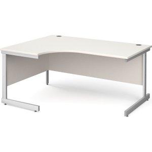 Tully I Left Hand Ergonomic Desk, 160wx120/80dx73h (cm), White, Free Delivered & Fully Ins NS16ELWHX, White