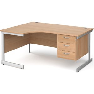 Tully I Left Hand Ergonomic Desk 3 Drawers, 160wx120/80dx73h (cm), Beech, Free Delivered & Fully In NS16EL3BX, Beech