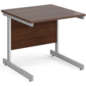 Tully I Rectangular Desk, 80wx80dx73h (cm), Walnut, Free Standard Delivery NS88SWX