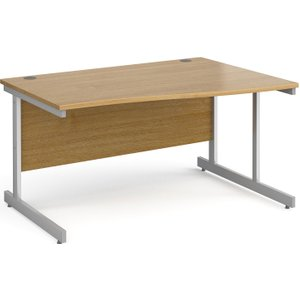 Tully I Right Hand Wave Desk, 140wx99/80dx73h (cm), Oak, Free Delivered & Fully Installed Delivery NS14WROX