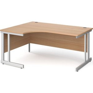 Tully Ii Left Hand Ergonomic Desk, 160wx120/80dx73h (cm), Beech, Free Delivered & Fully In MOM16ELBX, Beech