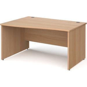 Tully Panel End Left Hand Wave Desk, 140wx99/80dx73h (cm), Beech, Free Standard Delivery NP14WLBX