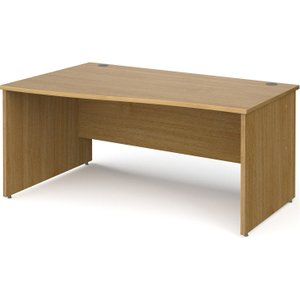 Tully Panel End Left Hand Wave Desk, 160wx99/80dx73h (cm), Oak, Free Standard Delivery NP16WLOX