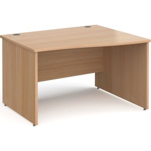 Tully Panel End Right Hand Wave Desk, 120wx99/80dx73h (cm), Beech, Free Standard Delivery Np12wrbx
