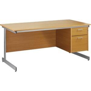 Value Line Budget C-leg Clerical Desk 2 Drawers, 160wx80dx73h (cm), Woodland Beech, Free S Fcl16p2bhx