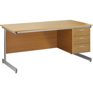 Value Line Budget C-leg Clerical Desk 3 Drawers, 160wx80dx73h (cm), Woodland Beech, Free N Fcl16p3bhx