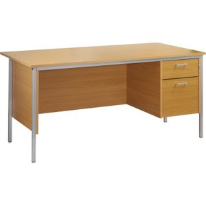 Value Line Budget H-leg Clerical Desk 2 Drawers, 120wx80dx73h (cm), Woodland Beech, Free S FA12P2BHX, Woodland Beech