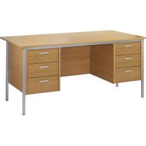 Value Line Budget H-leg Executive Desk 3+3 Drawers, 160wx80dx73h (cm), Woodland Beech, Fre Fa16p33bhx