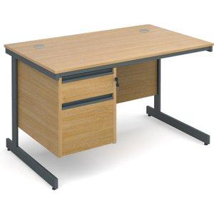 Value Line Classic C-leg Clerical Desk 2 Drawers, 123wx75dx73h (cm), Oak, Free Next Day De C4P2OX, Oak